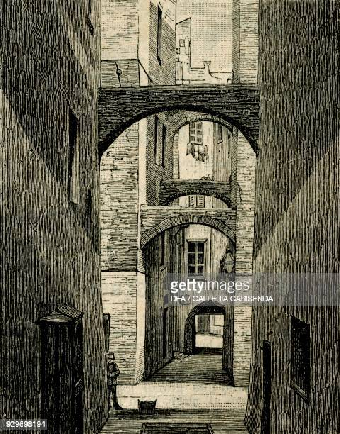 Lane with arches in the Old City Sanremo Liguria Italy woodcut from Le cento citta d'Italia illustrated monthly supplement of Il Secolo Milan 1889