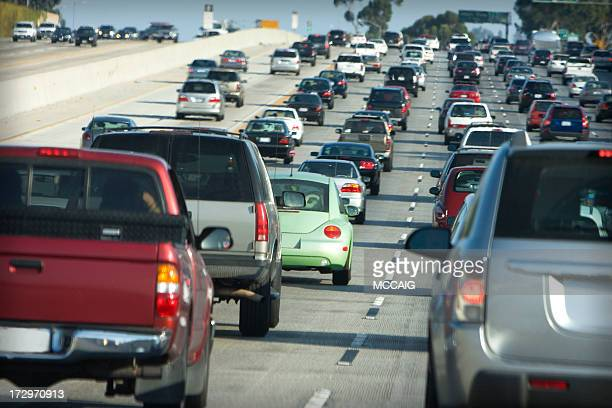 Lanes of cars on a busy highway