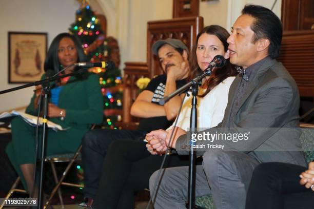 Lanette WareBushfield Kat McNichol Cory Bowles and Russell Yuen attend Listen and Learn at Kingston Road United Church on December 8 2019 in Toronto...