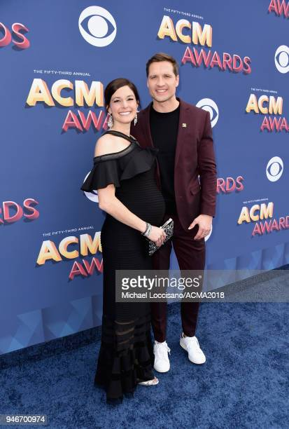 Laney Beville Hayes and Walker Hayes attend the 53rd Academy of Country Music Awards at MGM Grand Garden Arena on April 15 2018 in Las Vegas Nevada