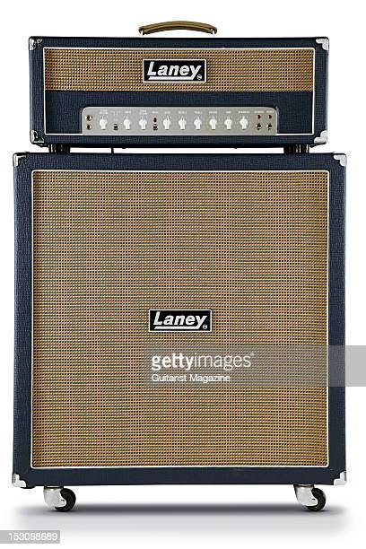 Laney L50H electric guitar amplifier head unit and L412 speaker cabinet during a studio shoot for Guitarist Magazine January 31 2012