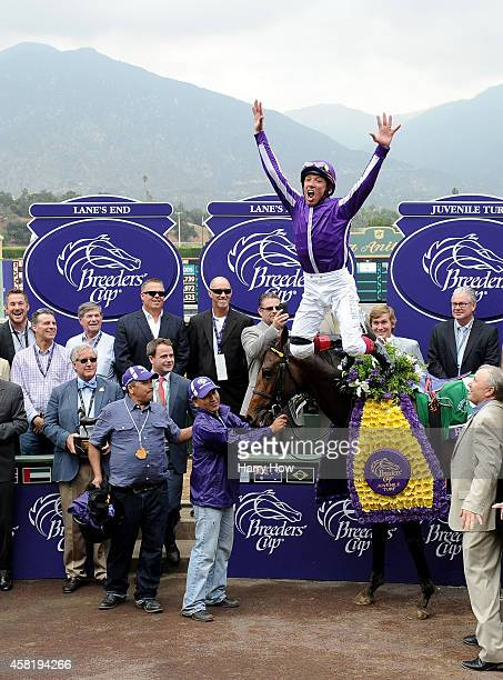 Lanfranco Dettori leaps off Hootenanny at the winners circle in celebration of a victory during the 2014 Breeder's Cup Juvenile Turf at Santa Anita...