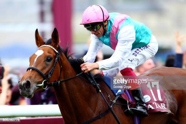 Lanfranco Dettori riding Enable wins the horse racing Qatar Prix de l'Arc de Triomphe at Hippodrome de Chantilly on October 1 2017 in Chantilly France