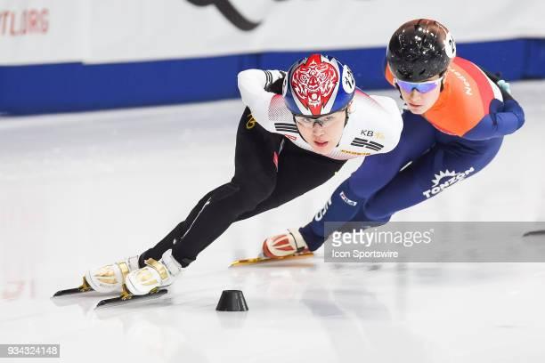 Lang A Kim passes Yara Van Kerkhof during the 1000m Final B at ISU World Short Track Speed Skating Championships on March 18 at MauriceRichard Arena...