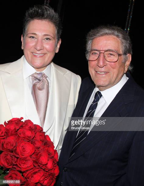 D Lang and Tony Bennett pose backstage after Lang makes her broadway debut in 'After Midnight' on Broadway at The Brooks Atkinson Theatre on February...