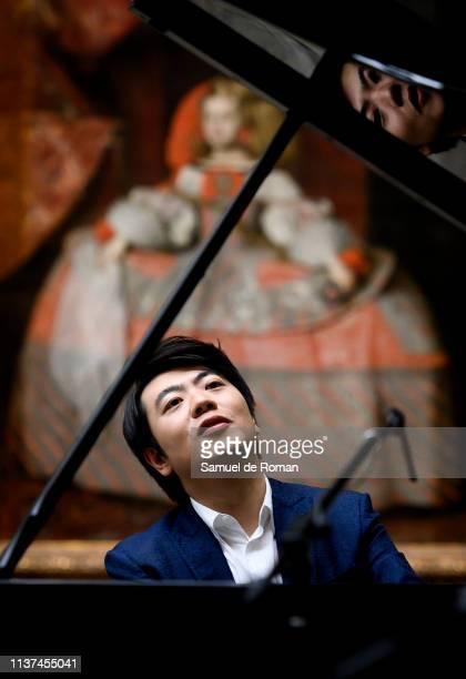 Lang Lang performs in front Of 'Las Meninas' at Prado Museum on March 21 2019 in Madrid Spain