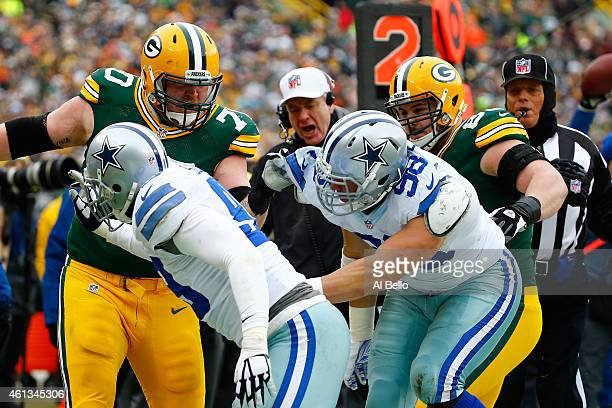 J Lang of the Green Bay Packers confronts Tyrone Crawford and Nick Hayden of the Dallas Cowboys during the 2015 NFC Divisional Playoff game at...