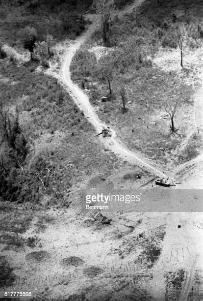 Lang Vei Khe Sanh South Vietnam This aerial view shows two Soviet made PT76 tanks being used by the North Vietnamese which were destroyed by US...