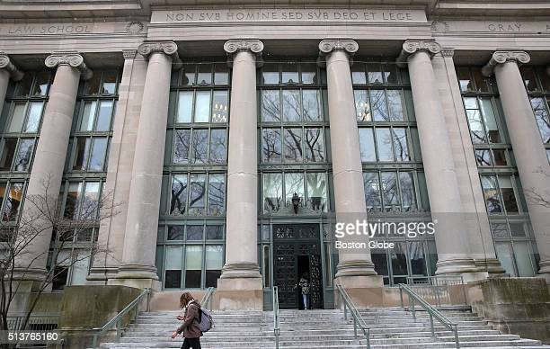 Langdell Hall at Harvard Law School in Cambridge Mass on March 4 2016 The seal of the law school might be removed because it is associated with a...