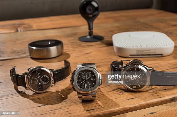 A Lange Söhne Zeitwerk 'Phantom' from left Patek Philippe Nautilus ref 5990 and Panerai Luminor watches belonging to Tony Fadell cofounder and chief...
