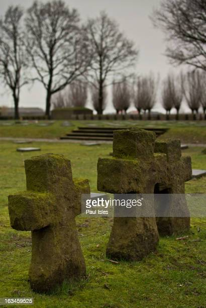 Langemark-Poelkapelle, Belgium. The German cemetery, dedicated in 1932, evolved from a small group of graves dating from 1915 and has seen numerous...