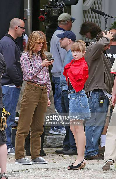 A J Langer and Holly Taylor are seen on movie set of 'The Americans' on June 04 2012 in White Plains New York