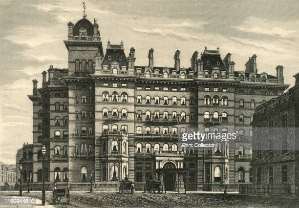 Langham Hotel', circa 1876. The Langham in Marylebone, designed by John Giles and built between 1863 and 1865. Electric light was installed in the...