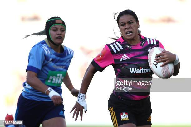Langi Vaeinu of the Chiefs makes a break to scoere a try during the Women's match between the Blues and the Chiefs at Eden Park, on May 01 in...