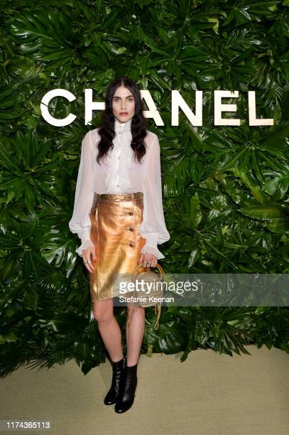 Langley Fox,wearing CHANEL attends Chanel Dinner Celebrating Gabrielle Chanel Essence With Margot Robbie on September 12, 2019 in Los Angeles,...