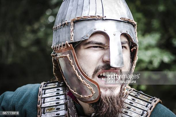 Langobard warrior with lamellar helmet Northern Italy 6th century Historical reenactment