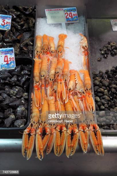 Langoustines and mussels at a fish market in Bilbao, Basque Country, Spain