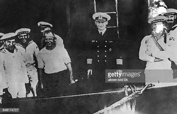 Langsdorff Hans naval officer D *20031894 the captain of the German cruiser 'Admiral Graf Spee' and the ship's crew in Buenos Aires after the...