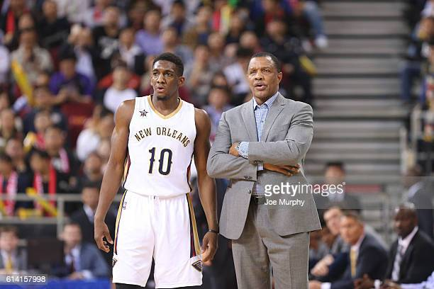 Langston Galloway chats with Head Coach Alvin Gentry of the New Orleans Pelicans in the game against the Houston Rockets as part of the 2016 Global...