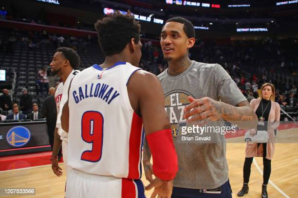 Langston Galloway of the Detroit Pistons and Jordan Clarkson of the Utah Jazz talk after the game on March 7 2020 at Little Caesars Arena in Detroit...