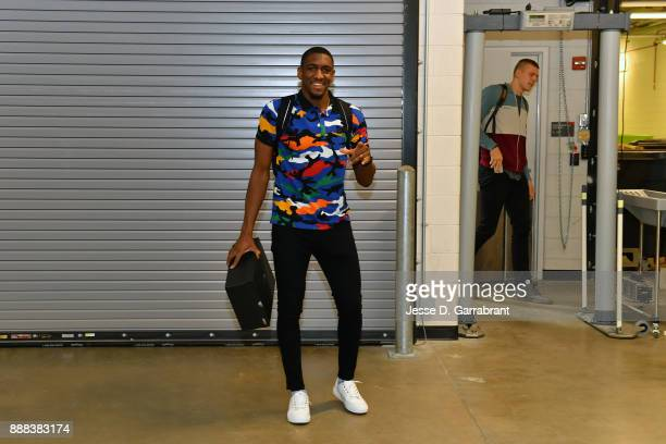 Langston Galloway of the Detroit Pistons arrives at the arena before the game against the Charlotte Hornets during the game on October 18 2017 at...