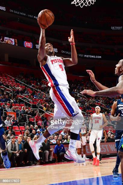 Langston Galloway of the Detroit Pistons drives to the basket against the Minnesota Timberwolves on October 25 2017 at Little Caesars Arena in...