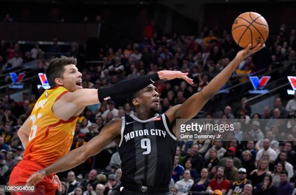 Langston Galloway of the Detroit Pistons goes to the basket past Kyle Korver of the Utah Jazz in the first half of a NBA game at Vivint Smart Home...