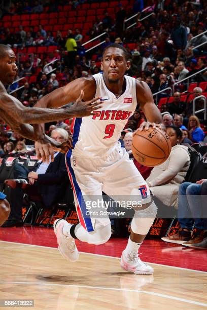 Langston Galloway of the Detroit Pistons handles the ball against the Minnesota Timberwolves on October 25 2017 at Little Caesars Arena in Detroit...