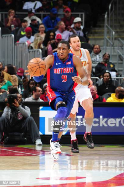 Langston Galloway of the Detroit Pistons handles the ball against the Atlanta Hawks on December 14 2017 at Philips Arena in Atlanta Georgia NOTE TO...