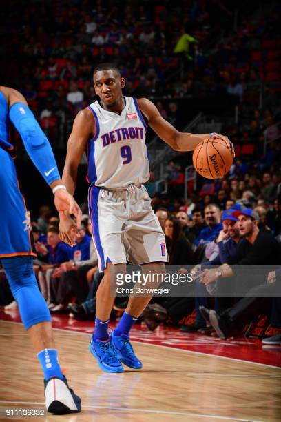 Langston Galloway of the Detroit Pistons handles the ball against the Oklahoma City Thunder on January 27 2018 at Little Caesars Arena in Detroit...