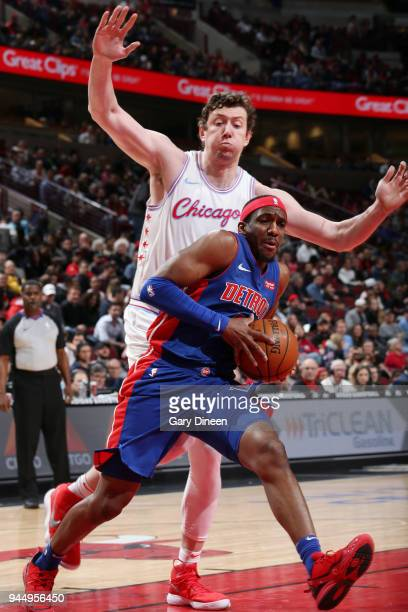 Langston Galloway of the Detroit Pistons handles the ball against the Chicago Bulls on April 11 2018 at the United Center in Chicago Illinois NOTE TO...