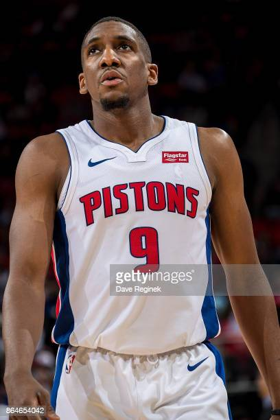 Langston Galloway of the Detroit Pistons looks down court against the Charlotte Hornets during the Inaugural NBA game at the new Little Caesars Arena...