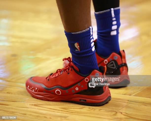 Langston Galloway of the Detroit Pistons Q4 495 Lo sneakers before the game against the Boston Celtics at TD Garden on November 27 2017 in Boston...