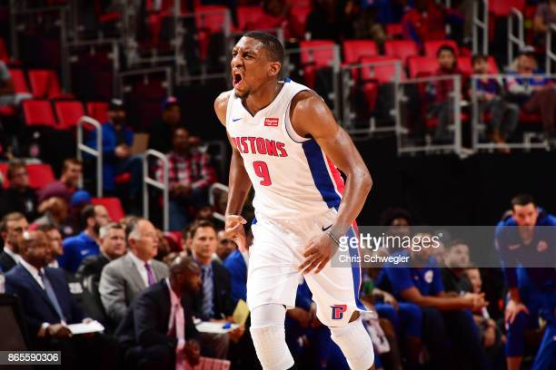 Langston Galloway of the Detroit Pistons reacts during the game against the Philadelphia 76ers on October 23 2017 at Little Caesars Arena in Detroit...