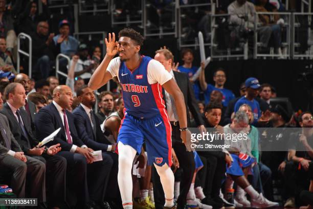Langston Galloway of the Detroit Pistons reacts to a play against the Milwaukee Bucks during Game Four of Round One of the 2019 NBA Playoffs on April...