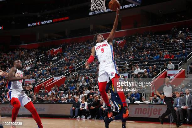 Langston Galloway of the Detroit Pistons shoots the ball against the Utah Jazz on March 7 2020 at Little Caesars Arena in Detroit Michigan NOTE TO...