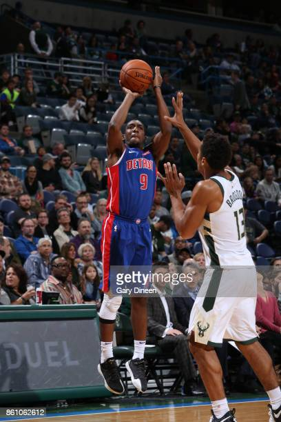 Langston Galloway of the Detroit Pistons shoots the ball against the Milwaukee Bucks on October 13 2017 at the BMO Harris Bradley Center in Milwaukee...
