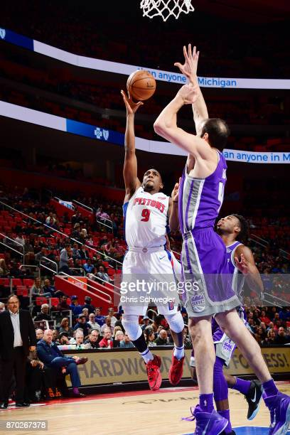 Langston Galloway of the Detroit Pistons shoots the ball against the Sacramento Kings on November 4 2017 at Little Caesars Arena in Detroit Michigan...