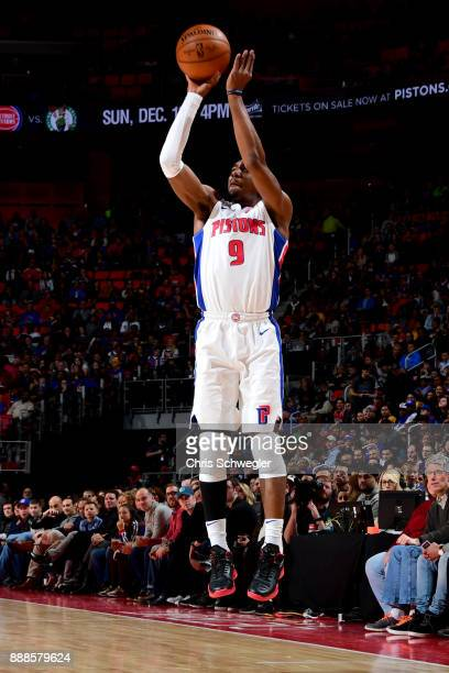Langston Galloway of the Detroit Pistons shoots the ball against the Golden State Warriors on December 8 2017 at Little Caesars Arena in Detroit...