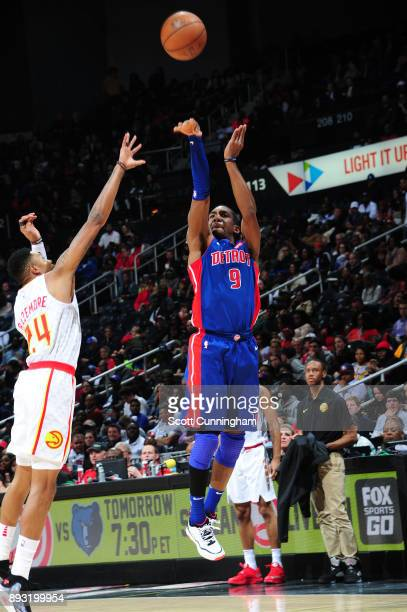 Langston Galloway of the Detroit Pistons shoots the ball against the Atlanta Hawks on December 14 2017 at Philips Arena in Atlanta Georgia NOTE TO...