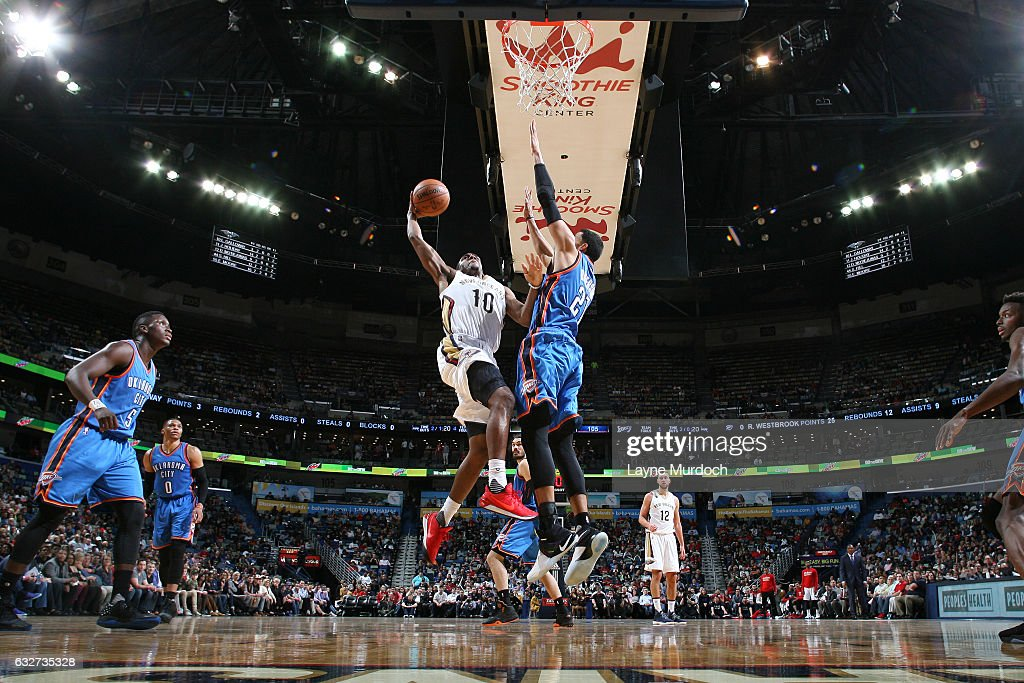Langston Galloway #10 of the New Orleans Pelicans goes to the basket during the game against the Oklahoma City Thunder on January 25, 2017 at the Smoothie King Center in New Orleans, Louisiana.