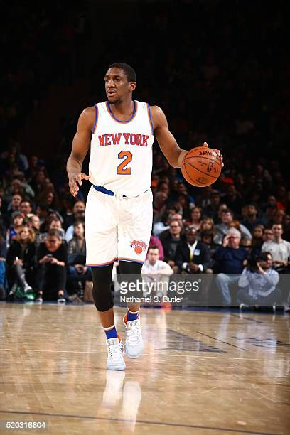 Langston Galloway of the New York Knicks brings the ball up court against the Toronto Raptors on April 10 2016 at Madison Square Garden in New York...