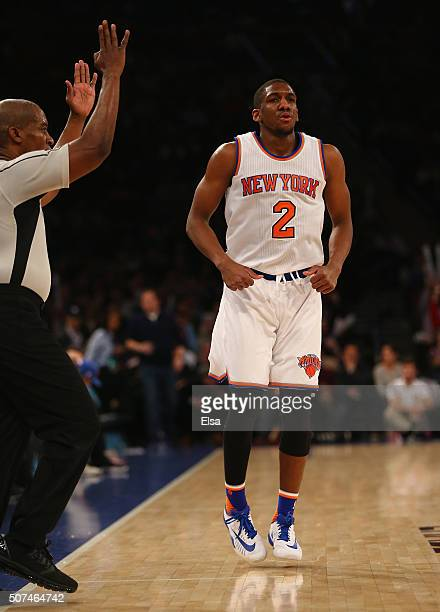 Langston Galloway of the New York Knicks celebrates his three point shot in the second half against the Phoenix Suns at Madison Square Garden on...