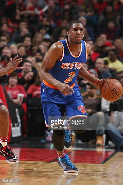 Langston Galloway of the New York Knicks drives to the basket against the Chicago Bulls during the game on January 1 2016 at United Center in Chicago...