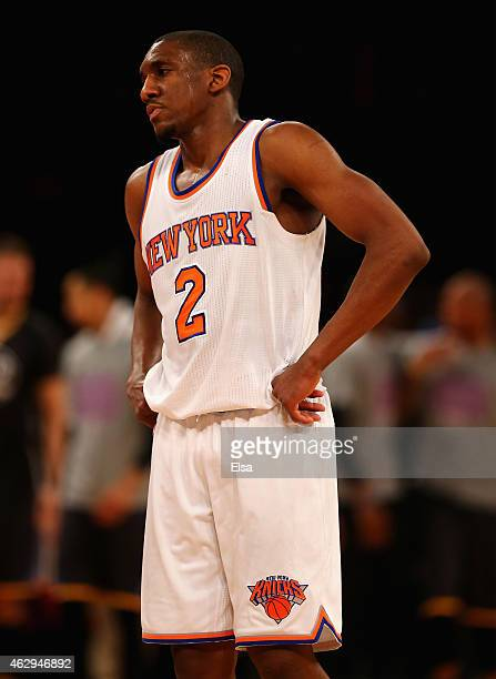 Langston Galloway of the New York Knicks reacts after the game against the Golden State Warriors at Madison Square Garden on February 7 2015 in New...