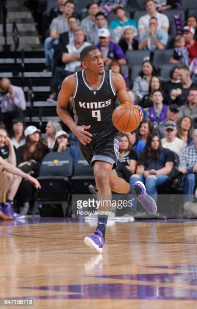 Langston Galloway of the Sacramento Kings brings the ball up the court against the Charlotte Hornets on February 25 2017 at Golden 1 Center in...