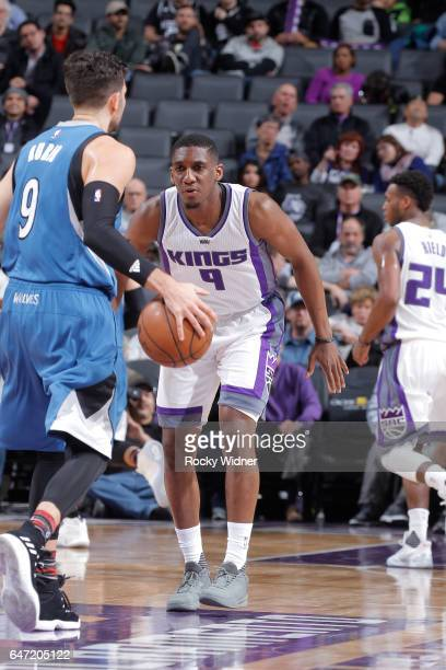 Langston Galloway of the Sacramento Kings defends against the Minnesota Timberwolves on February 27 2017 at Golden 1 Center in Sacramento California...