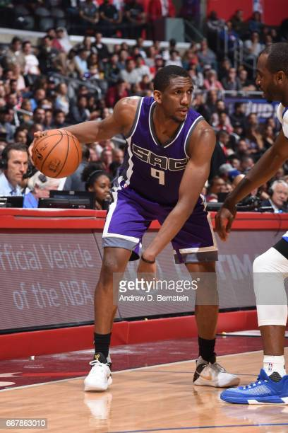 Langston Galloway of the Sacramento Kings handles the ball against the Los Angeles Clippers on April 12 2017 at STAPLES Center in Los Angeles...