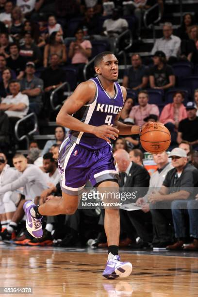 Langston Galloway of the Sacramento Kings handles the ball during the game against the Phoenix Suns on March 15 2017 at US Airways Center in Phoenix...