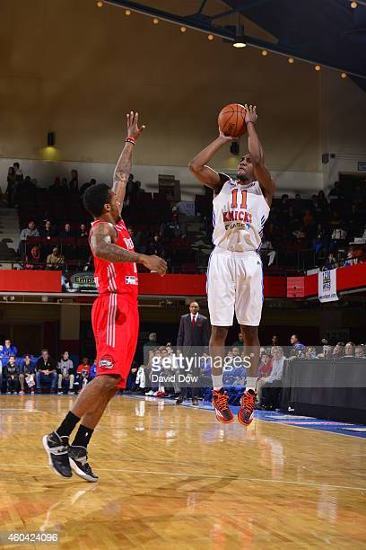 Langston Galloway of the Westchester Knicks takes a shot against the Rio Grande Valley Vipers at the Westchester County Center on December 12 2014 in...